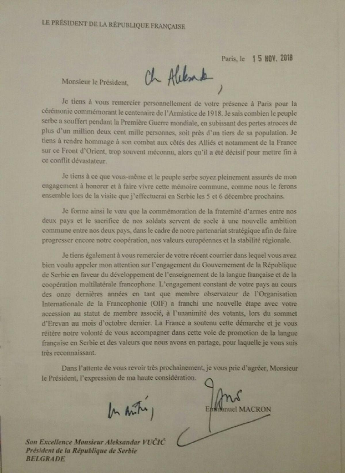 Pismo predsednika Republike Francuske Emanuela Makrona